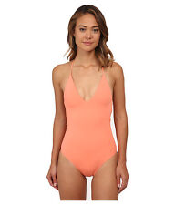 ROXY DEEP V NECK HALTER ONE PIECE SWIMSUIT CORAL ORANGE SMALL NEW! $78