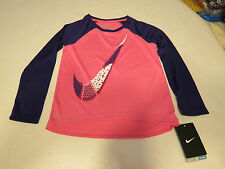 Nike Dri Fit active L/S shirt toddler girls 2T 26A252 AA6 Pink Pow Swoosh NWT*^