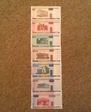 Lote de billetes de Bielorrusia. 7 X Notas. 20, 50, 100, 500, 1000, 5000, 10000 rublos