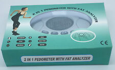 2in1 Pedometer Fat analyzer Step Distance Calorie Counter Clock/Alarm UK/Metric