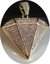 Men's Designer Gold Finish Hip Hop Bling Diamond Shape Fashion Pendant
