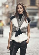 VINCE COLORBLOCK FUR VEST XS/SMALL