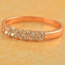 Fashion Classic 9K Rose Gold Filled Cubic Zirconia Womens Ring,size 6