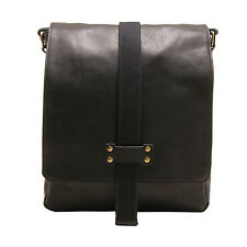 ASHWOOD - BLACK A4 COW SOFTY LEATHER AND CANVAS SLIGO MESSENGER BAG