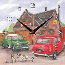 No.43 Two (2) classic Mini's Sue Podbery Wall clock handmade gift present Car
