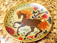 India Wall Hanging Plate with embossed Unicorn in Floral Arrangement