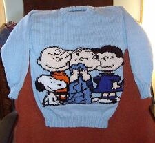 PEANUTS SNOOPY CHARLIE BROWN LINUS LUCY JUMPER  NEW HAND KNITTED SIZE 6/7