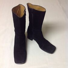 Prialpas Gomma Sz 8.5 Black Suede Leather Ankle Mid Calf Boots Block Heel ITALY