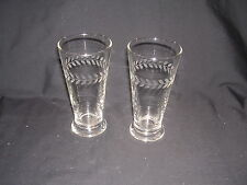 VTG Beverage Glasses with Leaf Etchings Going Around the Glass