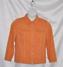 Bob Mackie Smart Denim Jacket with Contrast Stitch & Button Detail Size S Melon