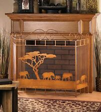 Bronze Colored Wild Savannah Themed Iron Folding Fireplace Screen