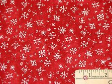 Apples & Gingerbread Snowflake Red Christmas Fabric by the 1/2 Yard  #11089