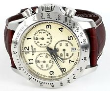 Tissot T1064171626200 V8 Men's Ivory Dial Watch Brown Strap Quartz Chronograph