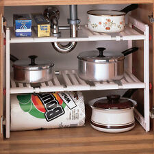 kitchen bathroom cabinet under sink adjustable shelf organizer rack stand