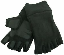 Adults Thinsulate Black Fleece Fingerless Gloves with Palm Grip Pads