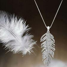 Fashion Gold Silver Feather Wing Design Crystal Chain Pendant Necklace #bing New