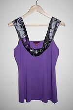 Ted Baker Woman's Fashion Designer Top Vest Printed Floral Collar Purple Size 14