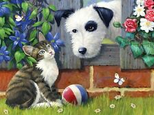 3D Lenticular Picture Tabby cat and dog with ball - That's My Ball 39 x 29cm