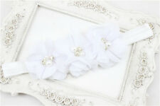 1Pcs Baby Girl Kid Chiffon Pearl Rhinestone Flower Headwear Headbands Hair Bows