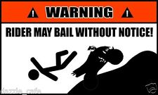 Warning! Rider May Bail Without Notice Funny ATV QUAD SLED Decals (2 PACK) 63