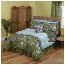 Zebra, Jungle, Safari, African Full Comforter & Sheet Set (8 Piece Bed In A Bag)