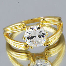 Classy Womens Finger Ring Clear Circle Rhinestone 14K Real Gold Filled SZ 8.75