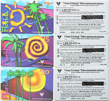VISTA-UNITED PHONECARDS $52,50 face 1996 stock cards set of 3 MINT