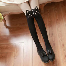 Fashion Women Silk Stockings Pantyhose Ribbed Over Cute Cat Sexy Slim Tights