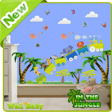 Animal Wall Stickers Zoo Jungle Train Tree Nursery Baby Kids Room Decals Mural