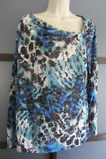 Tunic Top XXL Boho Chic Abstract Print Asymmetrical Neckline Knit Blues White