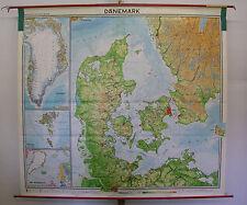 Schulwandkarte schöne alte Wandkarte Dänemark DK Danmark Denmark 210x190cm 1969