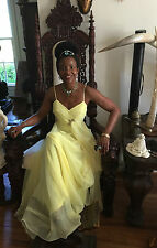 Vintage Sexy Classy Runway Spaghetti straps embellished Yellow dress gown XS-0