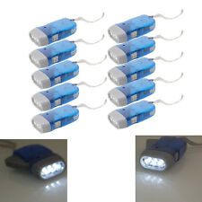 10X Mini 3 LED Dynamo Wind UP Flashlight Hand-Pressing Crank Torch White Light