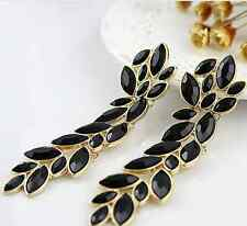 Allure Tags - Black Rhinestone Long Dangle Ethnic Extra Long Earrings For Women