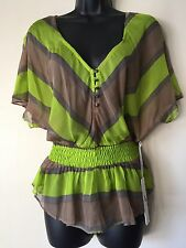 NEW LINE & DOT SHIRT TOP BLOUSE NEON GREEN BAT WING STRIPE WOMENS CLOTHING SMALL