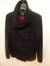 NEW DKNY Women's Black Funnel Neck Pea Coat Size 14