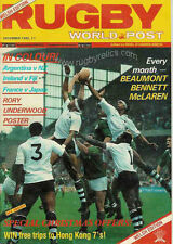 RUGBY WORLD MAGAZINE DECEMBER 1985 - PERFECT GIFT FOR A FAN BORN IN THIS MONTH