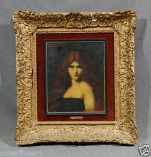 19th C French Oil Painting of lady with Red Hair possible by Jean Jacques Henner