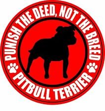 "PITBULL TERRIER PUNISH THE DEED NOT THE BREED 5"" RED PIT BULL STICKER"