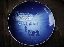 ROYAL COPENHAGEN BLUE WALL PLATE 8000/9072 B&G CHRISTMAS IN GREENLAND 1972 7.25""