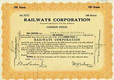 USA RAILWAYS CORPORATION stock certificate
