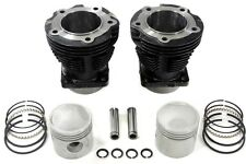 "Replica 61"" Knucklehead Cylinder Set Black with cast 7.5:1 pistons and rings"