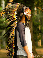 Real Chief Indian Headdress Native American Costume Hats War Bonnet Feathers 53″