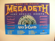 MEGADETH THE ALMIGHTY ALICE IN CHAINS CONCERT TOUR POSTER 1991 RUST IN PEACE