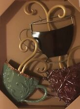 Large Stacked Coffee Mugs Metal Plaque. Beautiful Kitchen Decor