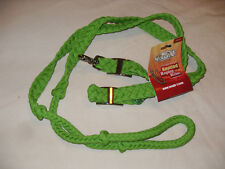 NEW LIME GREEN KNOTTED CORD CONTEST / ROPING REINS, LOOPED ENDS, SIZOR SNAP