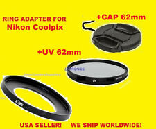AptTo NIKON COOLPIX P510 P520 P530 -  ADAPTER RING+UV FILTER+LENS CAP 62mm
