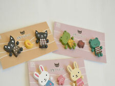 3* Cute Japan Animals Cat Bunny Frog Wooden Home Kitchen Refrigerator Magnets