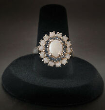 925 Sterling Silver Opal topaz cluster Ring  size 8  QVC or HSN