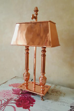 Stunning Twin Bulb Antique Style Rose Gold Metal Desk Lamp with Shade
